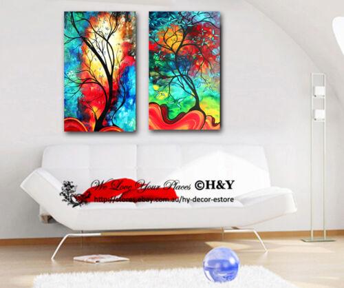 2 40x70x3cm Abstract Colour Tree Framed Canvas Print Wall Art Decor Painting