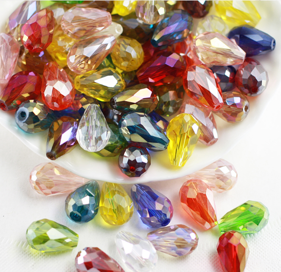 Joblot 10 strings Mixed colour Disc shape faceted Crystal beads new wholesale C
