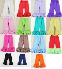 Girls Double Ruffle Boutique Pants Layering Basic Colors 2T 3T 4T 5 6 8 10 12