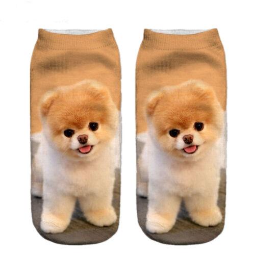 3D gedruckt Tier Frauen Casual Socken niedlichen Hund Unisex Low Cut Söckchen