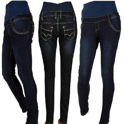 Maternity Pregnancy Navy Blue Skinny Jeans Trousers Size Uk 6 8