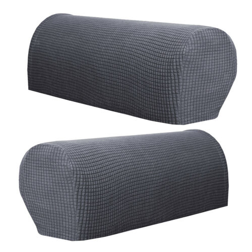 2x Flannel Spandex Stretch Armrest Covers Couch Armchair Arm Protector Gray