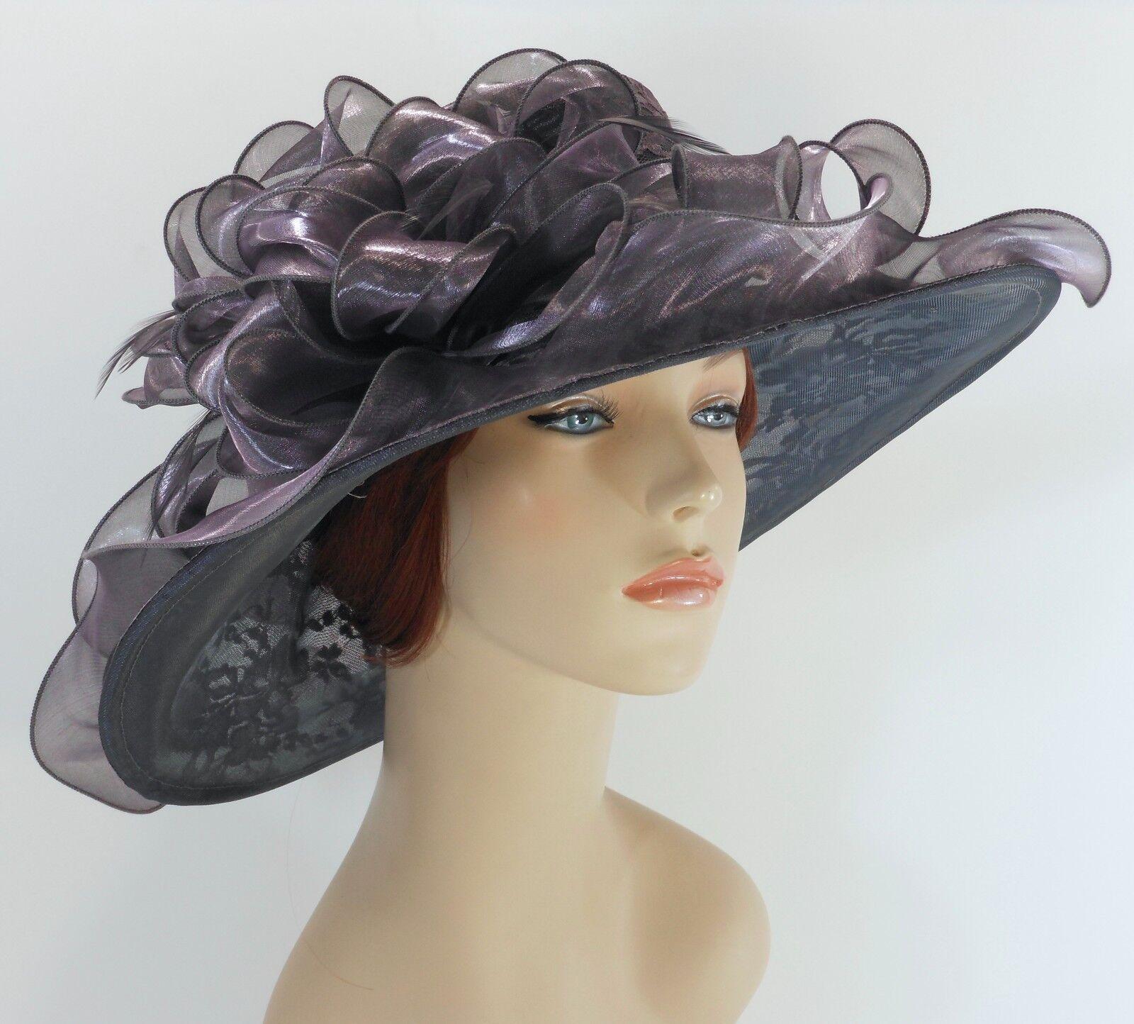 New Church Kentucky Derby Party Wedding Organza Lace Dress Hat 1593 Gray