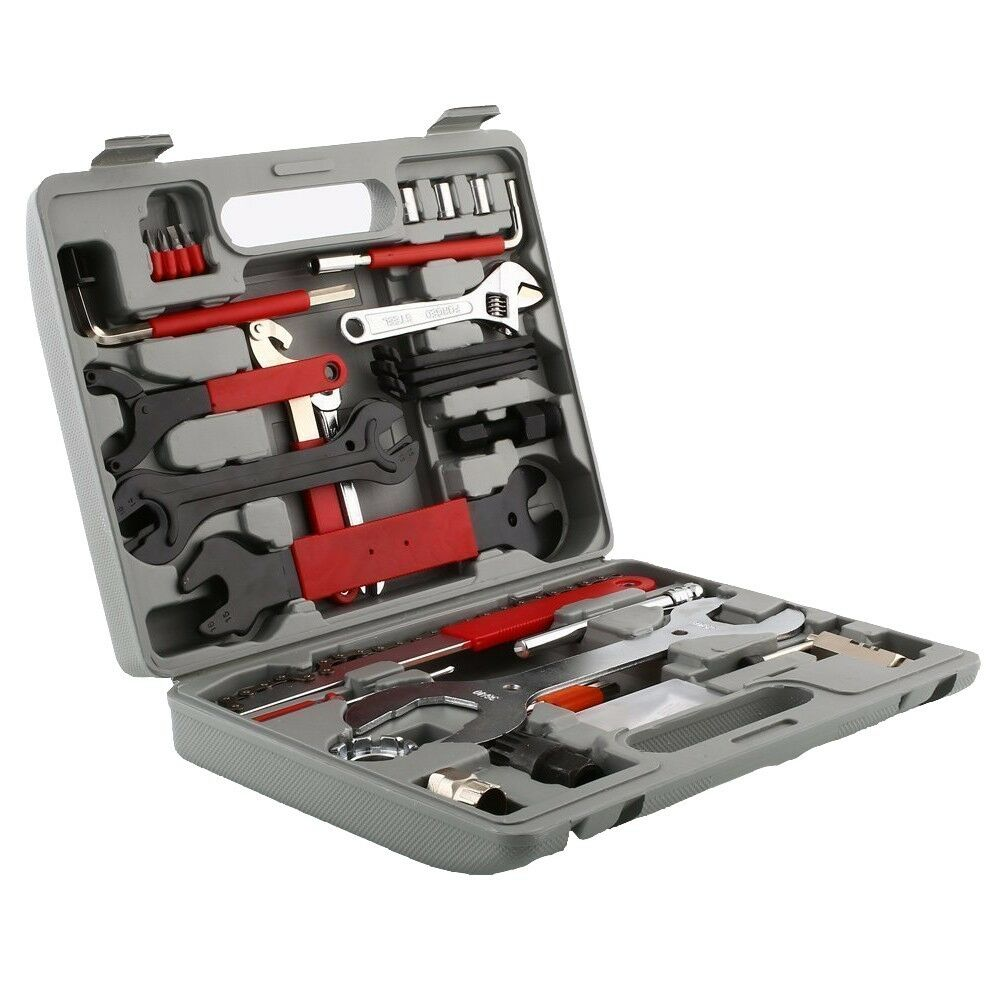 46x Universal Bike Bicycle Repair Tool Kit Set Handy Case Wrench Lever Spanner