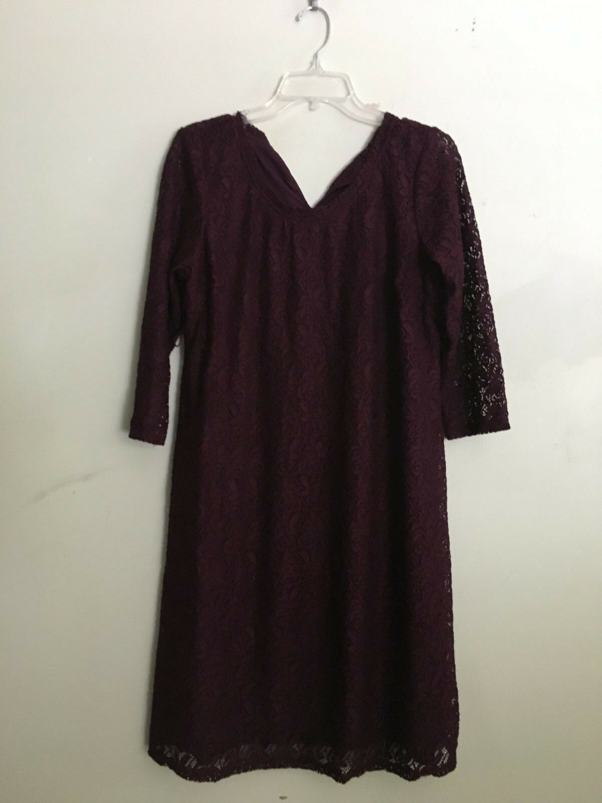 Oh Baby Motherhood Maternity Plum Lace Dress Women Size L Formal Modern Stylish