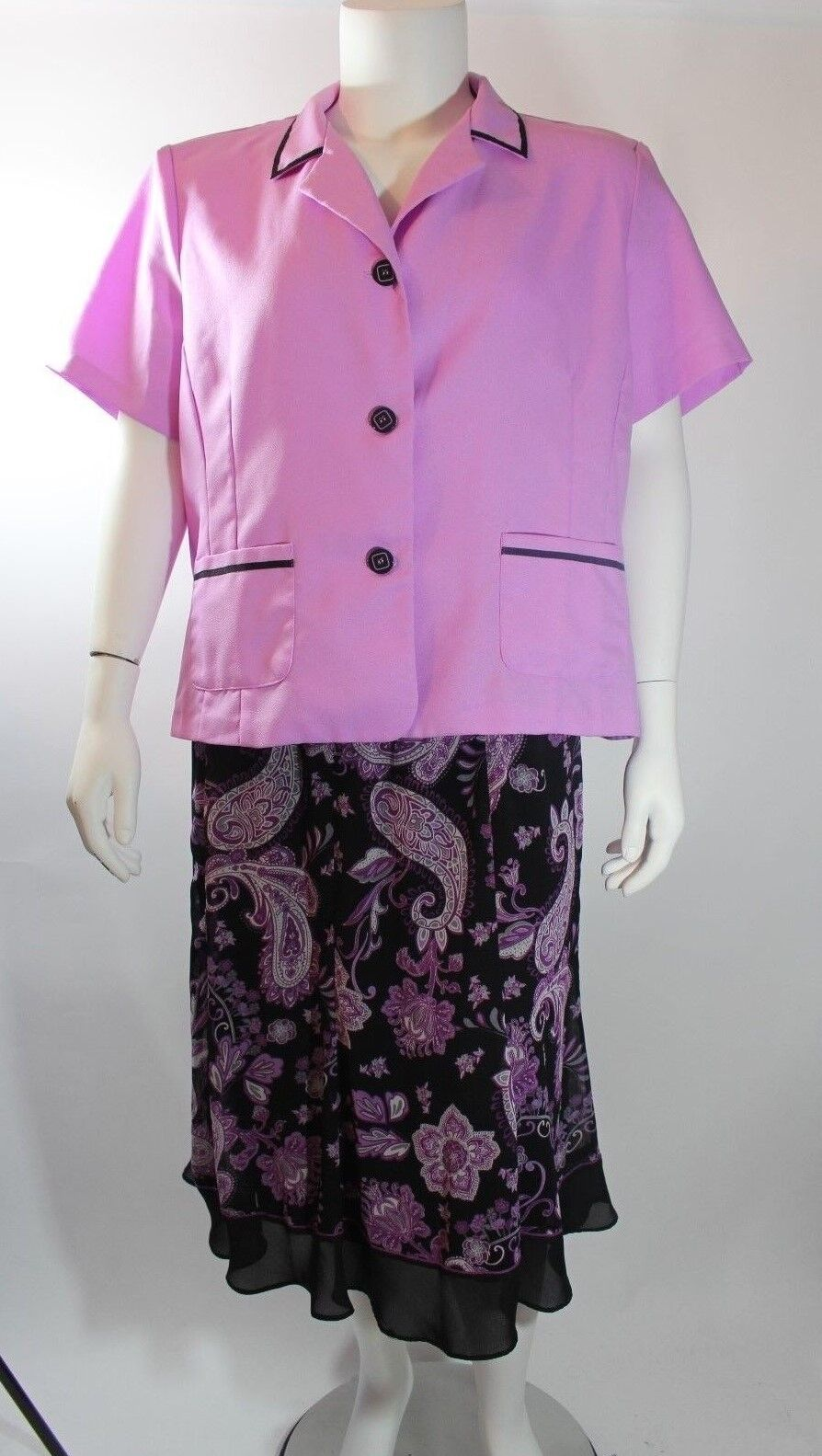 Anthony Richards Womens Blazer Skirt Sz 22WP Purple Floral 2Pcs Career Easter