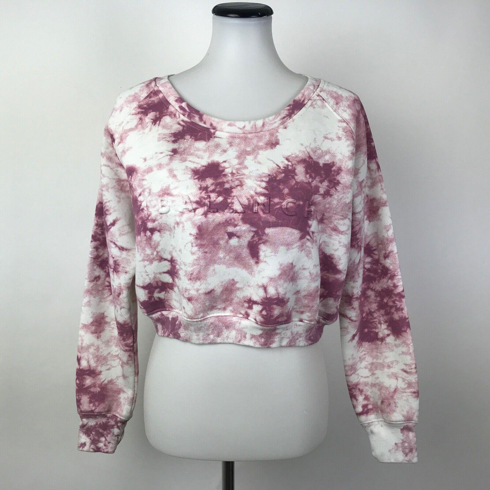 Balance Athletica Tie Dye Crop Sweatshirt Sweater Pink Medium M Womens