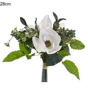 New fake magnolia berry bouquet white 28cm artificial silk flower image is loading new fake magnolia berry bouquet white 28cm artificial mightylinksfo
