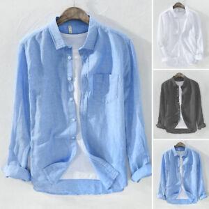 Fashion-Men-039-s-Cotton-Linen-Long-Sleeve-Button-Front-Shirt-Lapel-Tops-Size-M-2XL