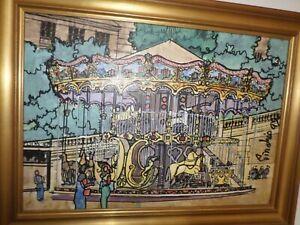 Martin-Pinchis-1907-2005-Roumanie-Tableau-huile-acrylique-Le-manege-cadre
