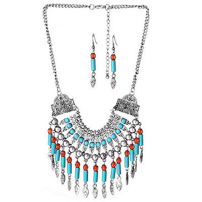 Women's Bohemian Tassels Necklace Earrings Choker Chain Jewelry Set Sanwood
