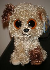 """Ty Beanie Boos ~ ROOTBEER the 6"""" Dog (Solid Eyes & Purple Tag) ~ MWMT (STICKER)"""