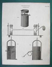CHEMISTRY LAB Gas Absorption Apparatus - 1820 ABRAHAM REES Antique Print