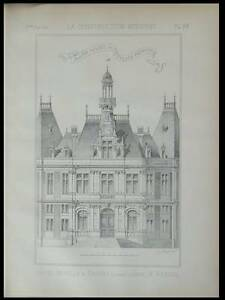 CHAUNY, HOTEL DE VILLE - 1886 - 2 PLANCHES ARCHITECTURE, REBOUL