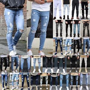 b5e4a6587ea830 Das Bild wird geladen Herren-Jeans-Zerrissen-Destroyed-Roehrenjeans-Denim- Slim-Fit-