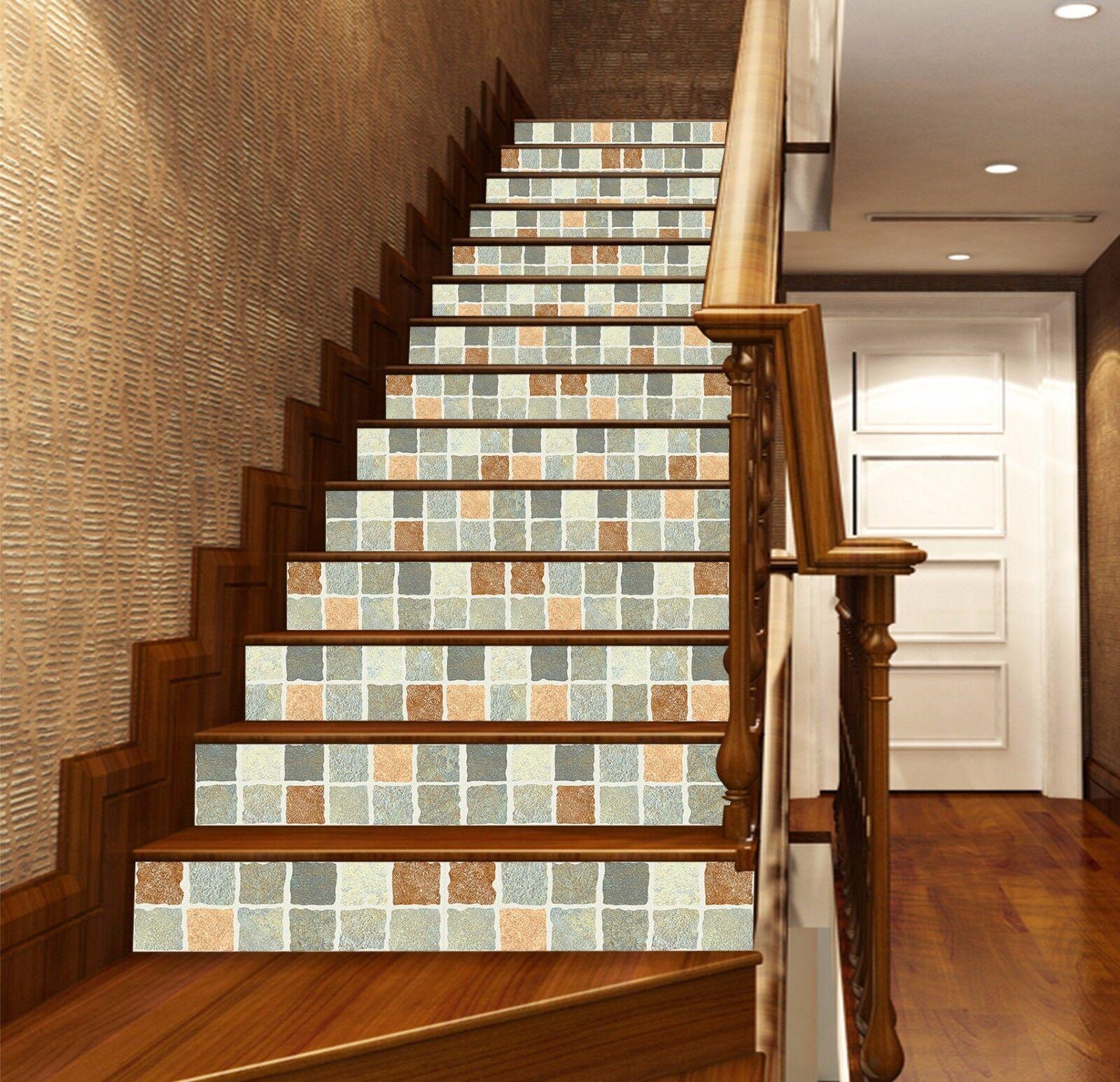 3D Gitter Ziegel 36 Stair Risers Dekoration Fototapete Vinyl Aufkleber Tapete DE