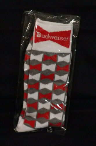 New in Package. Budweiser Red and White Bowtie Pattern Socks