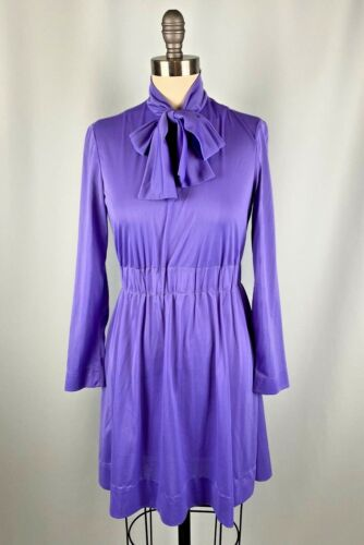 Vintage Mini Dress Purple Skater Long Sleeve 60s 7