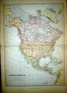 1882 LARGE VICTORIAN MAP ~ NORTH AMERICA ~ CANADA UNITED STATES MEXICO