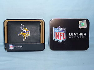 Image is loading MINNESOTA-VIKINGS-embroidered-Leather-TriFold-Wallet -NIB-black 7d4cc0872