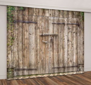 curtains room dp american by wooden coverings living door rustic country drapes com decor old garage ambesonne amazon