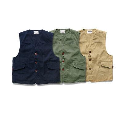 Work Hunting Vest Men/'s Multi-pocket Vintage Canvas Casual Waistcoat 3 Colors