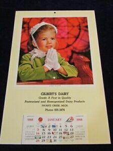 Vtg 1968 Calendar Gilbert's Dairy Swartz Creek MI Unused Girl in Sunday Best S93