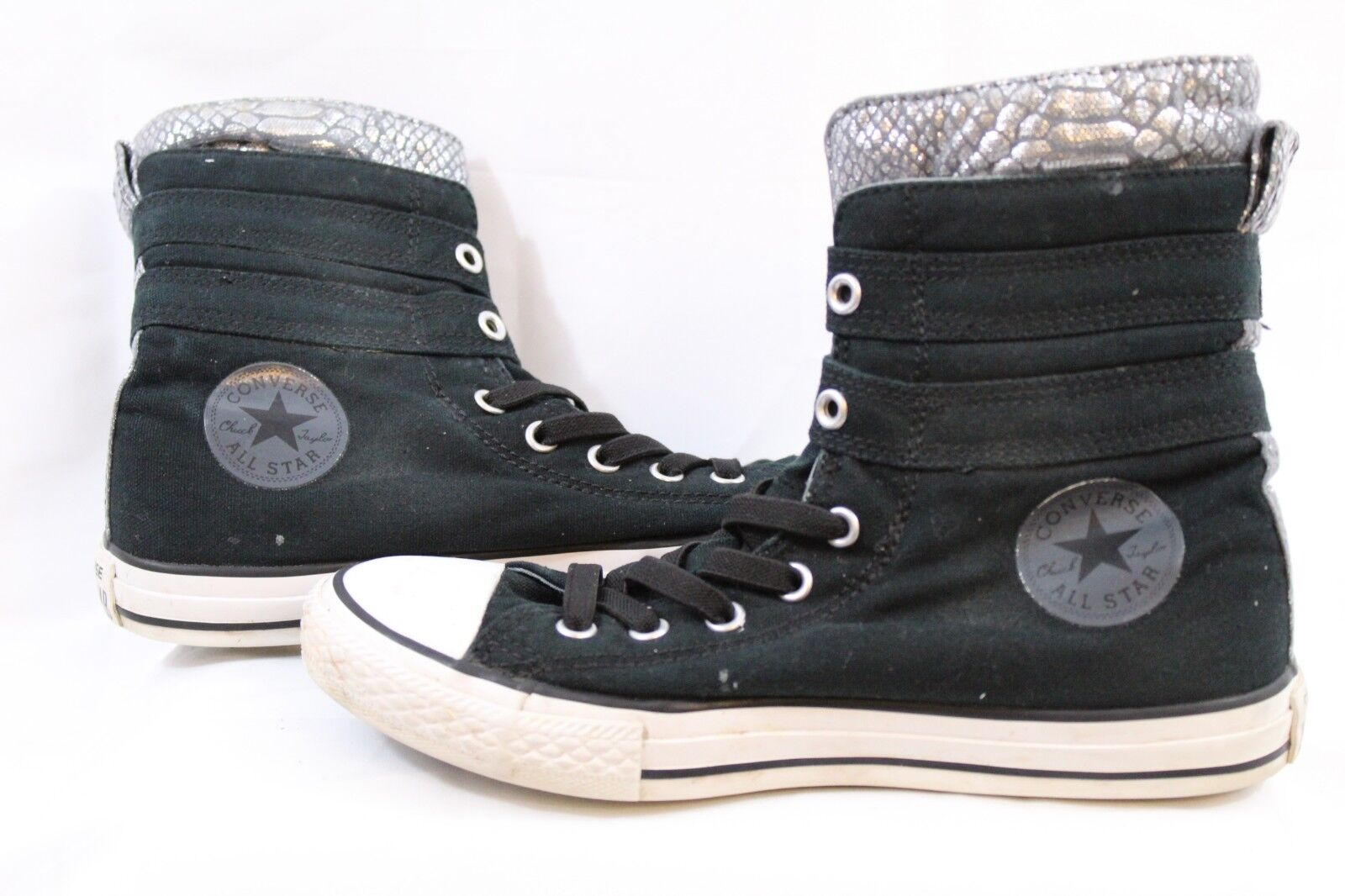 WOMEN'S CHUCK TAYLOR ALL STARS FASHION HIGH TOP BLACK/SILVER SIZE 4