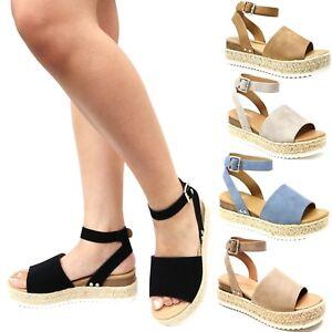 2d681ea9b75 Details about New Women Soda Topic Platform Flatform Espadrille Wedge  Sandals Open Toe