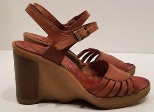 Vintage-Famolare-Hi-Up-5-5-70-039-s-Sandal-Wavy-Sole-Platform-Wedge-Brown-Italy