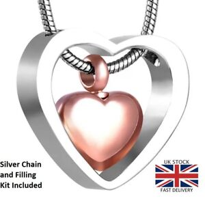 Rose-Gold-Heart-Cremation-Urn-Pendant-Ashes-Necklace-Funeral-Memorial-Jewellery