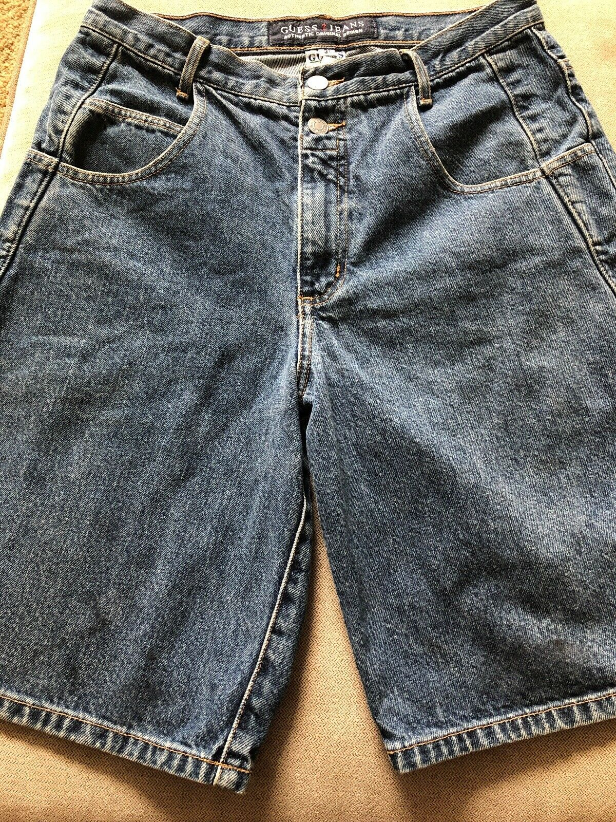 Vintage Men's Guess Denim Jean Shorts Size 31 2 Button Front