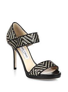 01c430bad9b  995 Jimmy Choo Black Alana Woven Leather Sandals Pump Gold Black ...