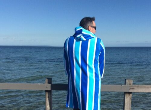Hooded towel back beach co Blue Stripe