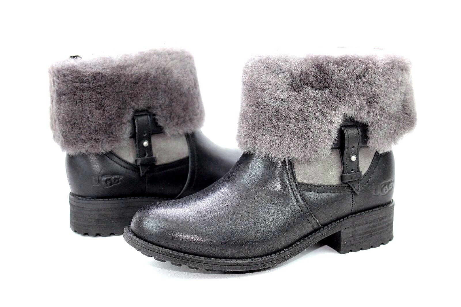 50a865e0fc09 UGG Chyler Leather Cuffed Sheepskin Black Ankle BOOTS Size 7 US for ...