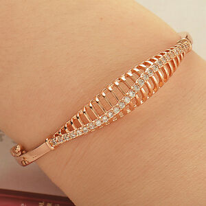 Amazing-9K-Solid-Rose-Gold-Filled-Flawless-Clear-Crystal-Bangle-Bracelet-Z1752