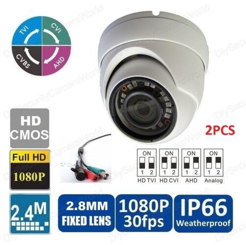 2PCS 4-IN-1 AHD//CVI//TVI//Analog HD 1080P 18IR Metal Dome Camera WaterProof