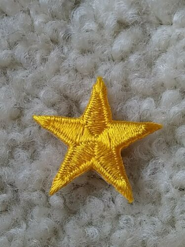 "1 /"" Inch Lot of 100 Yellow Gold Stars Embroidered Patch Award Martial Arts NEW"