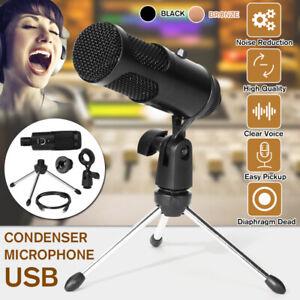 USB-Condenser-Microphone-Cardioid-Sound-Studio-Audio-Broadcast-Recording-Tripod