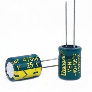 20 x 35V 470uF Radial Electrolytic Capacitors For PCB//LCD Mount 105°C 8x12mm