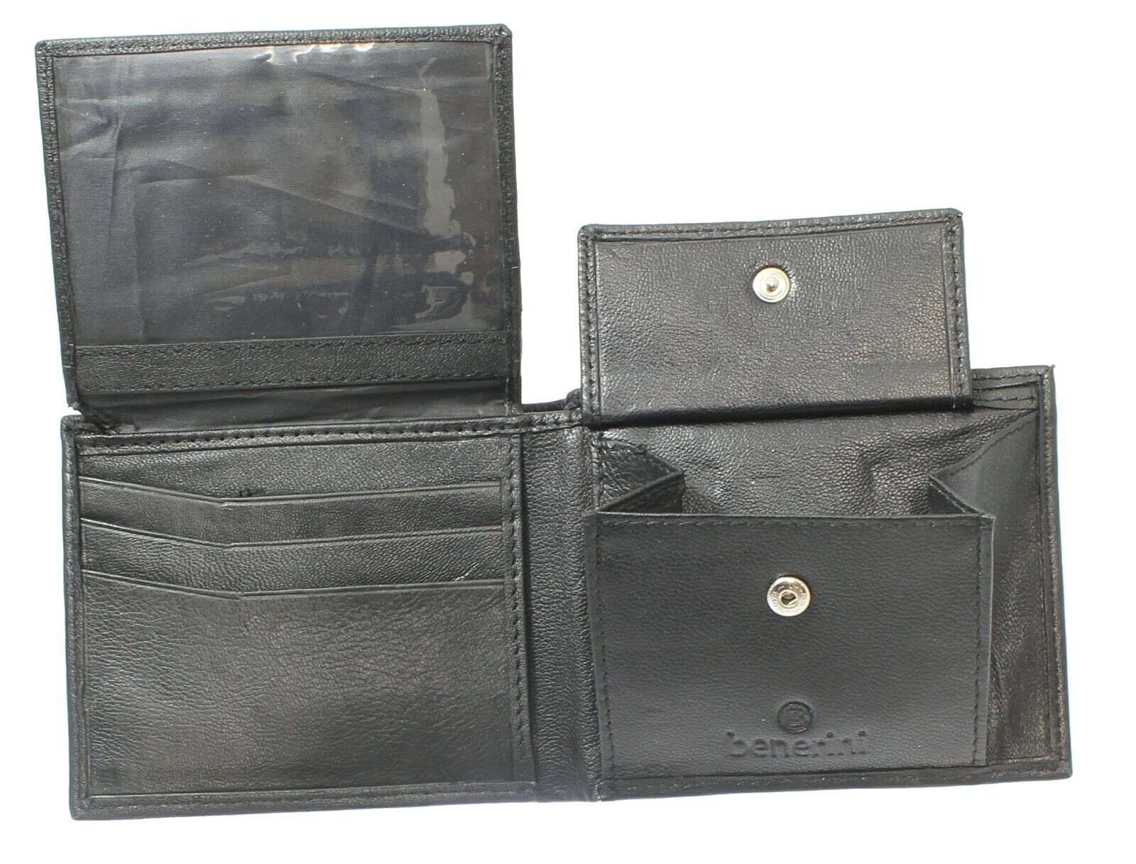 Men Soft Black Leather Wallet Holds 6 Credit Card 1 ID Card Coins Note Coin Pock