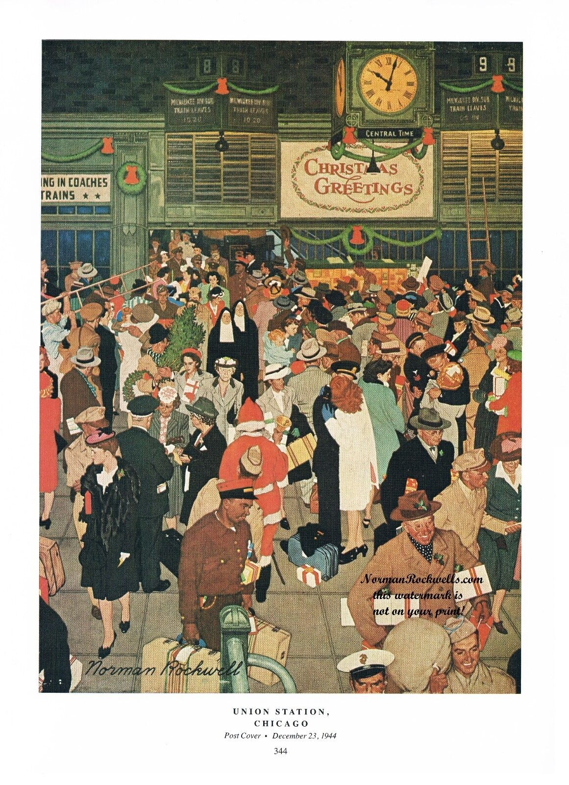 Norman Rockwell Thanksgiving Christmas travel print: UNION STATION ...