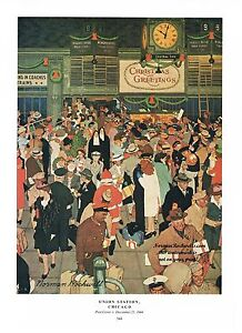 image is loading norman rockwell thanksgiving christmas travel print 034 union - Chicago Christmas Station