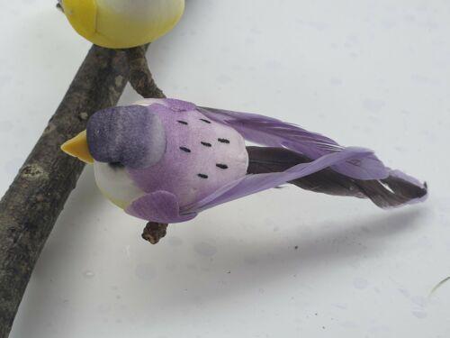 6 Artificial Pastel Craft Birds Clip Decoration Home Fake Bird Cake Hat Flowers