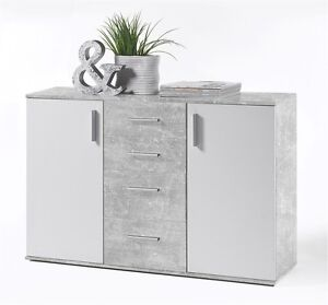 kommode bobby 5 sideboard anrichte schrank wei beton 120 cm breit ebay. Black Bedroom Furniture Sets. Home Design Ideas