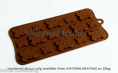 PEEK A BOO BEARS Chocolate Candy Mold Cupcake Silicone Bakeware Mould Fondant