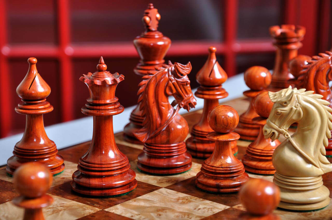 The Preston Luxury Luxury Luxury Chess Set - Pieces Only - 4.4  King  - Blood pinkwood 39f65a
