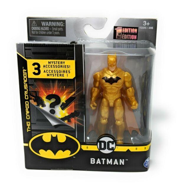 "NEW ~ DC BATMAN ~ THE CAPED CRUSADER 4"" GOLD ACTION FIGURE DC COMICS 1st Edition"