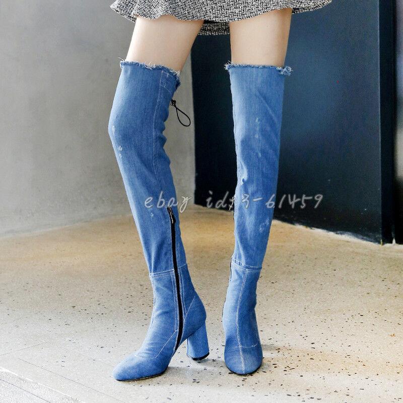 Jeans Schuhe Damenmode Overkneestiefel Blockabsatze Gr.33-43 NEU Street Fashion