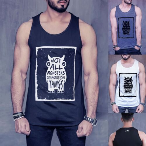 Mens Monstrous Things Branded Summer Cotton Tank Training Gym Sports Vests Top
